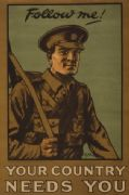 Vintage WW1 poster. Follow me, your country needs you